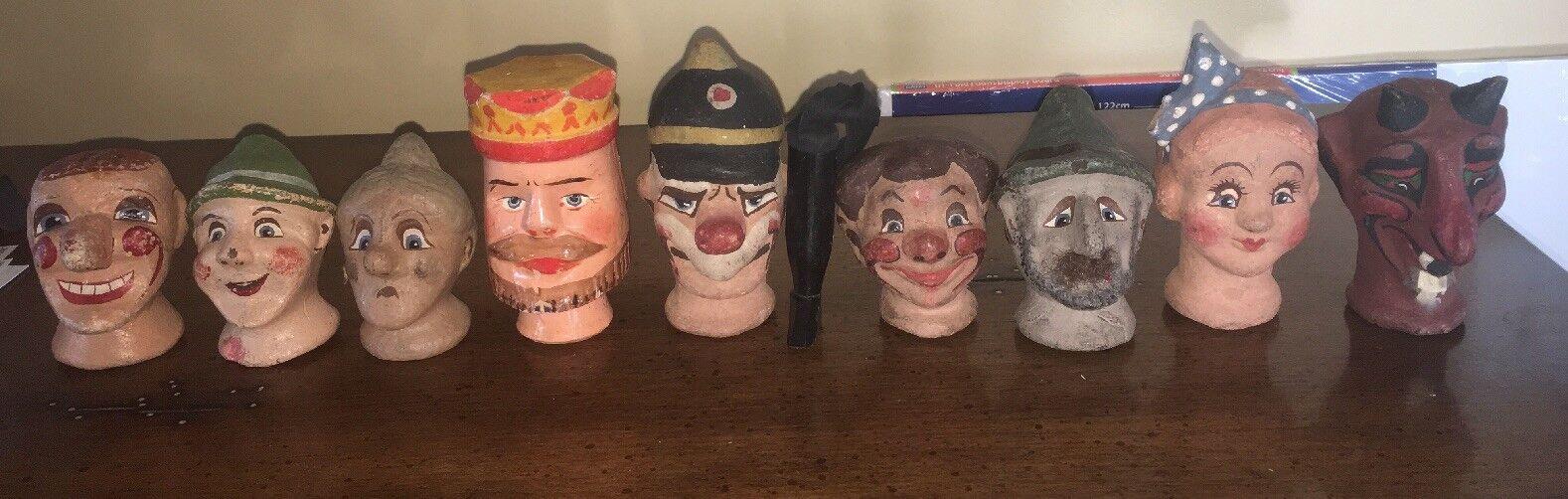 9 cabezas de marioneta de de de Madera Vintage Punch y Judy Lote 12 un. total y Playbill  de moda