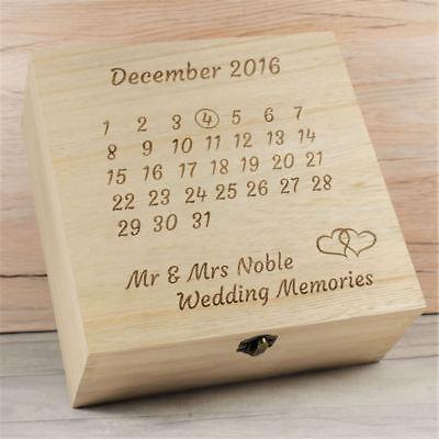 Data Matrimonio Personalizzati Calandra Memory Box-ricordo Scatole, Anniversario Regalo-mostra Il Titolo Originale
