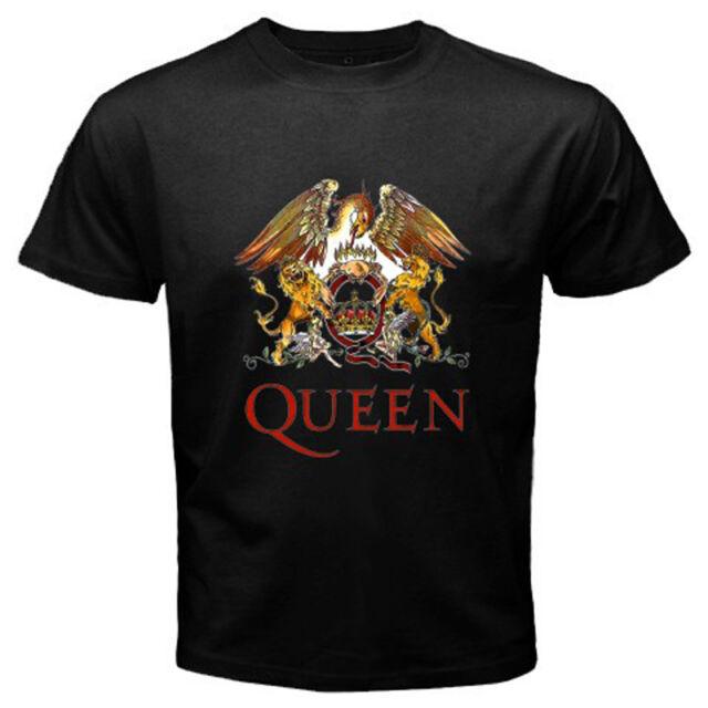 QUEEN Legendary Rock Band Mens Black T-Shirt Size S - 3XL