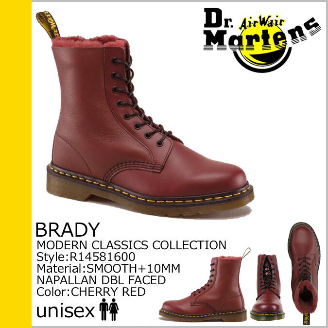 Dr. Martens Men`s Brady 1460 Shearling Winter Boot Red US 9 EU 42 UK 8 Ret. 285