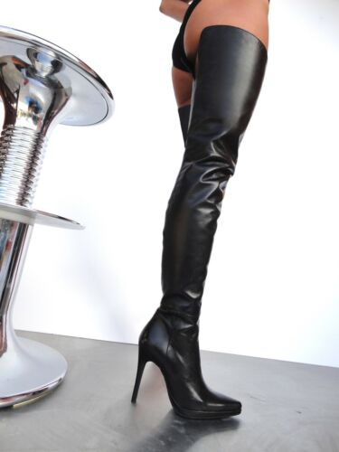 Chaussures Italie Black Plateforme Boots Overknee Leather Bottes Stiefel Giohel wUt5qp7p