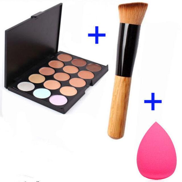 15 Colors Contour Face Cream Makeup Concealer Palette + Sponge Puff Powder UL