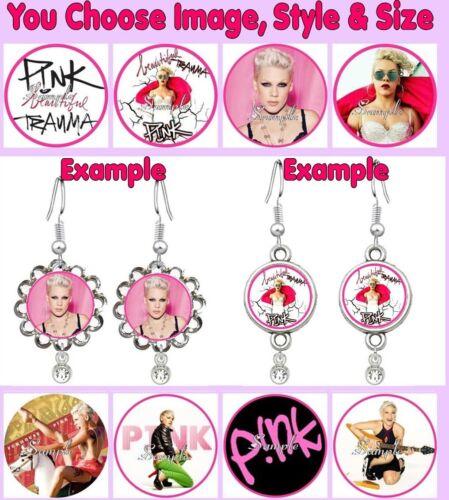 P!NK Custom Hook Earrings You Choose Image Pink Singer Tour Pop Star Beautiful