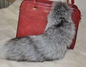 Large Silver Fox Tail Real Fox Fur Tail Keychain Fur Tassel Handbag ... 0dee354a6ab1