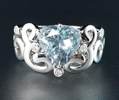 "$2800 18K White Gold Diamond Trillion Aquamarine Aqua ""Om"" Motif Certified Ring"