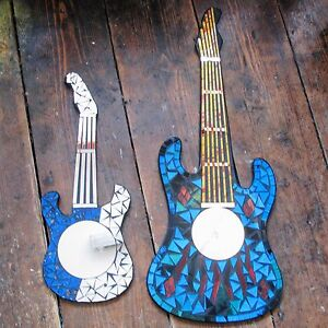 Guitar-Mosaic-Glass-Mirror-Craft-Fair-Trade-Hand-Made-Gift-Three-Sizes-Red-Blue