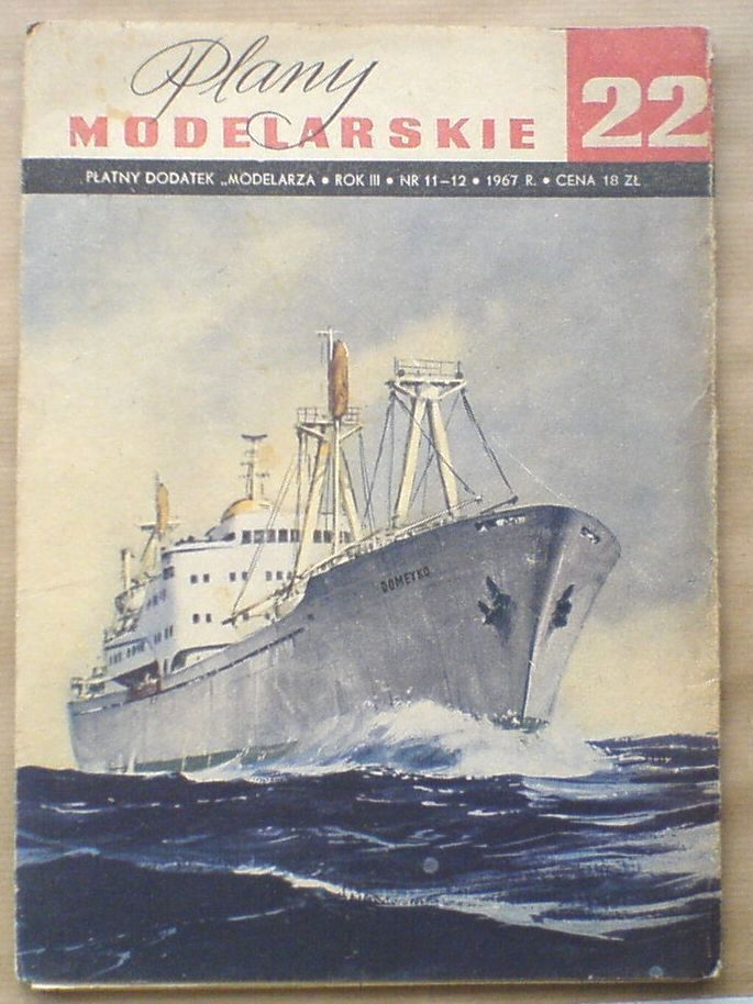 Plany modelarskie 22  drobnicowiec motorowy m s Domeyko; Polish ship drawings