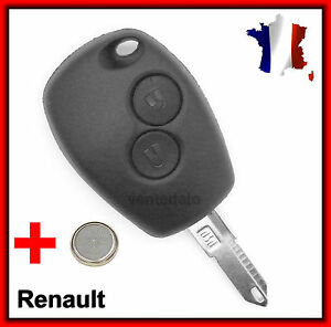 coque t l commande plip cl 2 boutons renault megane scenic twingo cl pile ebay. Black Bedroom Furniture Sets. Home Design Ideas