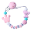 Schnullerkette mit Namen ☆ Silikon ★ Krone ☆ Koala Bär ★ Geburt Nuckelkette