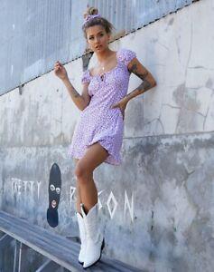 Motel-GALACA-MINI-DRESS-IN-DITSY-ROSE-LILAC-Size-S