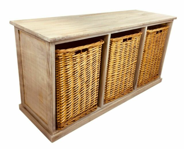 Marvelous Solid Wooden Storage Seat Bench With 3 Large Wicker Baskets Rustic Sturdy 101Cm Onthecornerstone Fun Painted Chair Ideas Images Onthecornerstoneorg