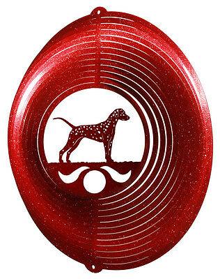 Dalmatian Dog Red Metal Swirly Sphere Wind Spinner *NEW*