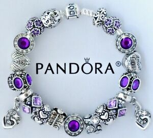 Authentic Pandora Charm Bracelet Purple Love Heart With European Charms 7 9 Ebay