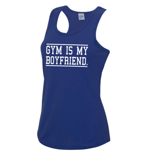 Gym Is My Boyfriend Girls Vest Tee Top Gym Workout Fitness JC015