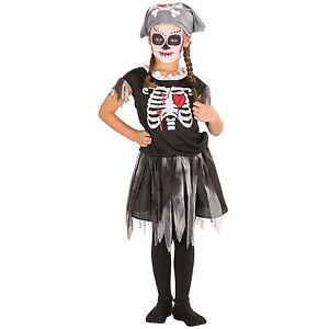 Maedchen-Piraten-Skelett-Kostuem-Karneval-Fasnacht-Halloween-Girlie-Kinder-Kleid