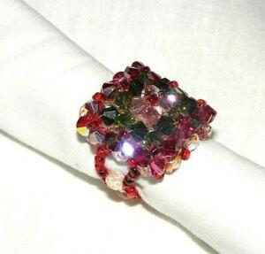 Détails sur Bague perles SWAROVSKI, taille 50-52, grosse, carrée, rose  vert, fait main, NEUF