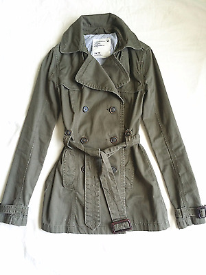 American Eagle Womens Double Breasted Trench Coat Jacket Olive Green XS