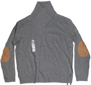 Armani-Exchange-A-X-Mens-Solid-Shawl-Collar-Leather-Patch-Pullover-Sweater-New