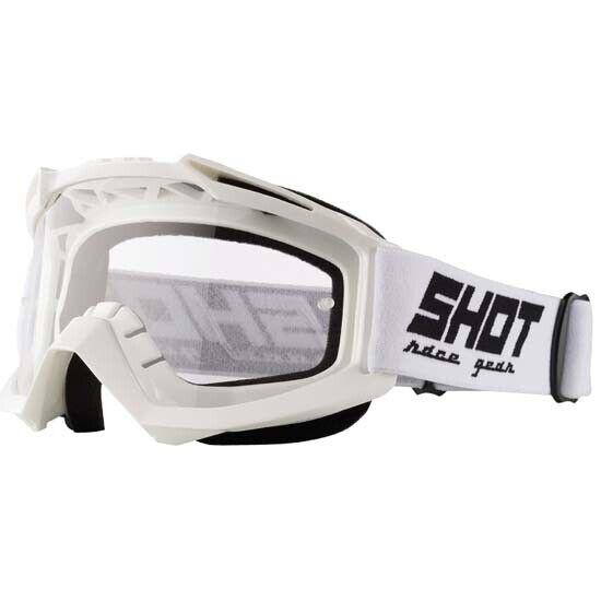 Shot Assault DH Downhill Mountain Bike MTB MX Motocross Goggles White Clear