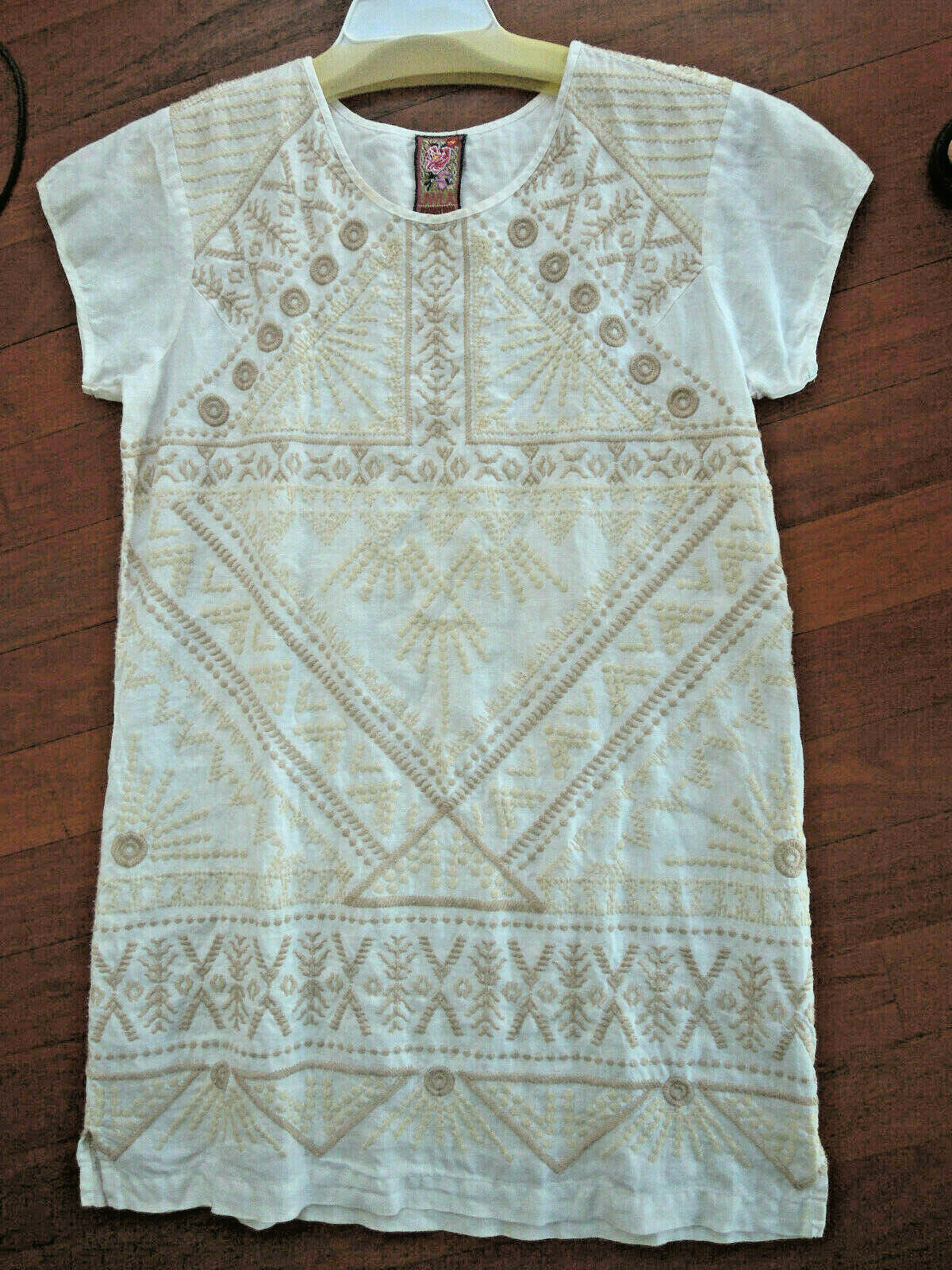 Johnny Was Colette white short sleeve Embroidered LINEN Tunic dress S