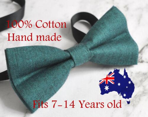 Boy Teenage 100/% Cotton Peacock Green Bow Tie Bowtie Wedding 7-14 Years Old