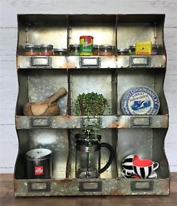 Industrial-Wall-Unit-Shelf-Storage-Cupboard-Cabinet-Pigeon-Hole-Vintage-Kitchen