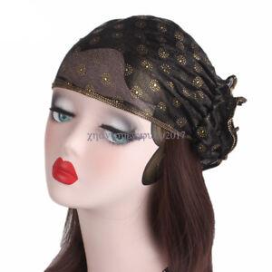Ladies-Lace-Hat-Flower-Bonnet-Chemo-Cap-Muslim-Hijab-Islamic-Turban-Wrap-Caps