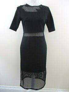 Bnwt-French-Connection-black-dress-size-14-mesh-waistband-10-034-mesh-hem-floral