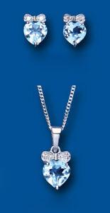 Aspiring Topaze Bleu Et Diamant Pendentif Et Boucles D'oreilles Coeur Set Argent Massif Structural Disabilities Fine Jewelry Jewelry & Watches