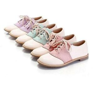 Ladies-Women-Oxfords-Flats-Lace-Up-Round-Toe-Brogues-Shoes-Fashion-Carved-Shoes
