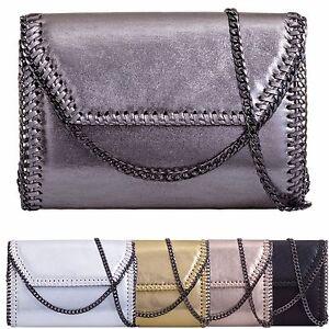 Ladies-Metallic-Envelope-Clutch-Bag-Chain-Edge-Evening-Bag-Party-Handbag-KL907