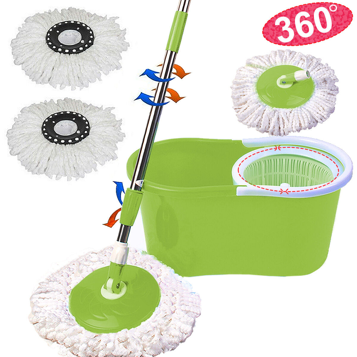 Microfiber Spining Magic Spin Mop W/Bucket 2 Heads Rotating 360°Easy Floor Mop