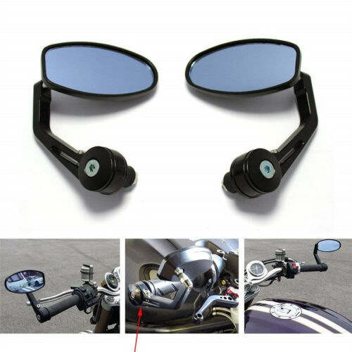 """Pair 7//8/"""" 22mm Motorcycle Rear View Black Handle Bar End Side Rearview Mirrors"""