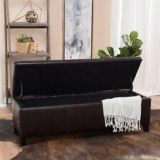 Skyler Rectangle Leather Storage Ottoman Bench