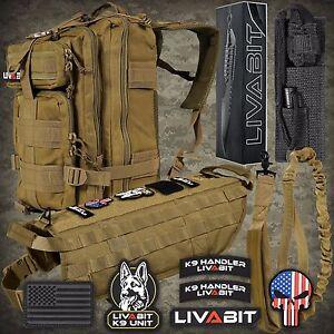 LIVABIT TAN K9 Vest Combo Backpack Dog Harness Paracord Knife Patch Leash