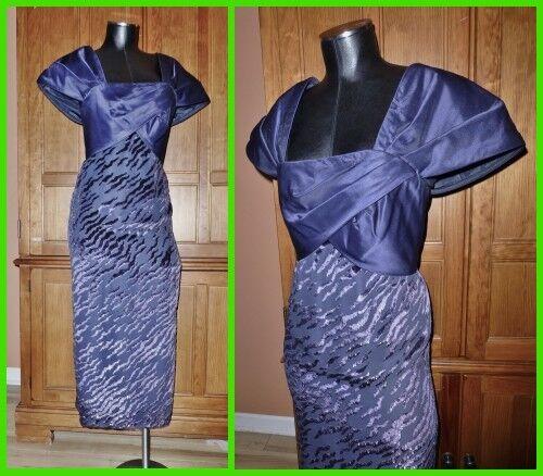RUBEN PANIS Vtg 80s Avant Garde silk metallic Navy