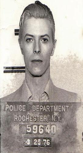 """32/"""" x 20/"""" paper for glass frame poster David Bowie Mugshot NY Police arrest"""