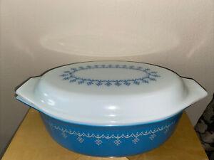 MCM Vintage Pyrex GlassSnowflake Blue GarlandCasserole Dish w/ Lid 2.5 qt #045