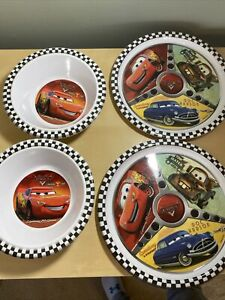Zak Designs Disney Cars Melamine Kids Plates & Bowls Set. Set of 4