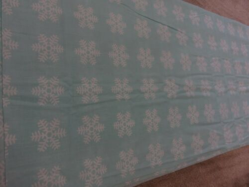 Duck egg blue white snowflakes crafts remnant fabric material piece 130x95cm
