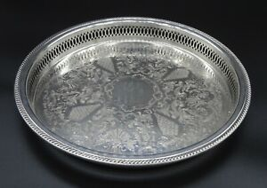 ROUND-QUEEN-ANN-STYLE-CHASED-PIERCED-GALLERY-BUTLERS-SERVING-TRAY-SILVER-PLATED