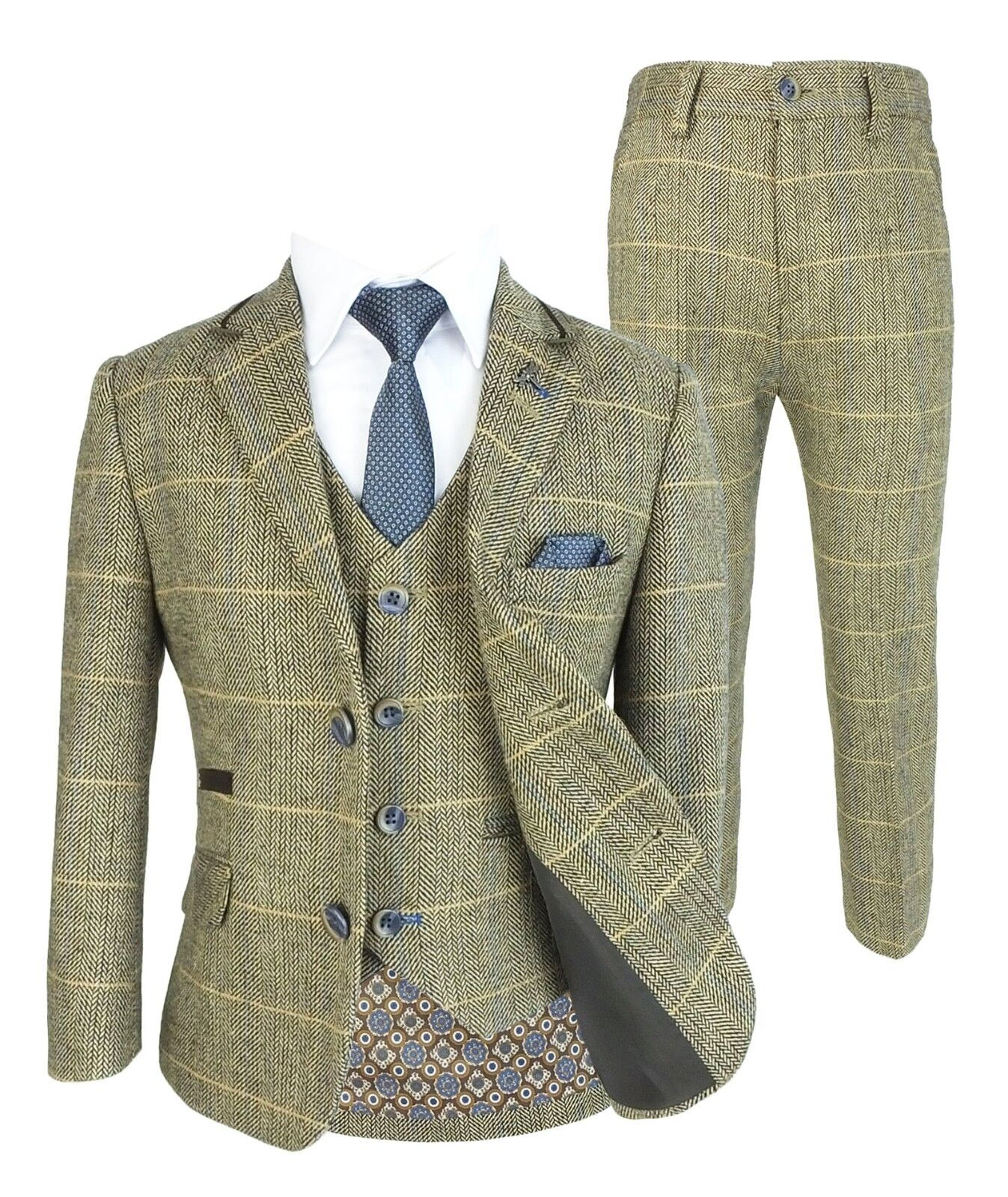 new style & luxury choose clearance great look Details about Boys Tan Brown Check Tweed Suit Wedding Party Prom Vintage  Peaky Blinders Suits