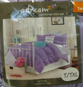 JULISSA-LAVENDER-TWIN-TWIN-XL-2-PC-COMFORTER-SET-GATHERED-RUCHED-PURPLE-NEW