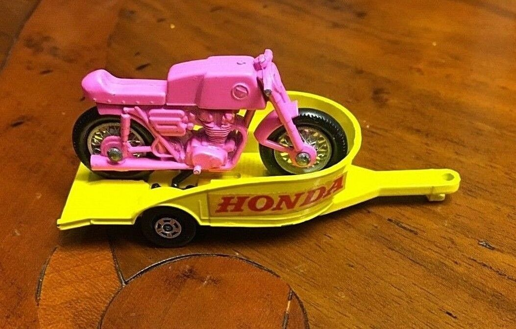 Lesney Matchbox 38 Honda Motorcycle trailer + Motorcycle vintage diecast model
