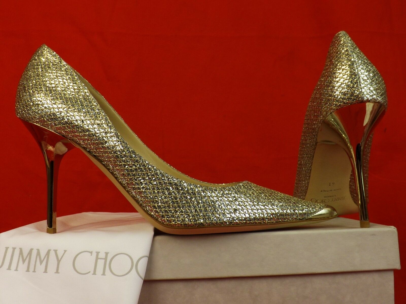 cfbca1fa81b0 Jimmy Choo Agnes Champagne Glitter Fabric Pointy Toe Mirror Heel PUMPS 41  for sale online