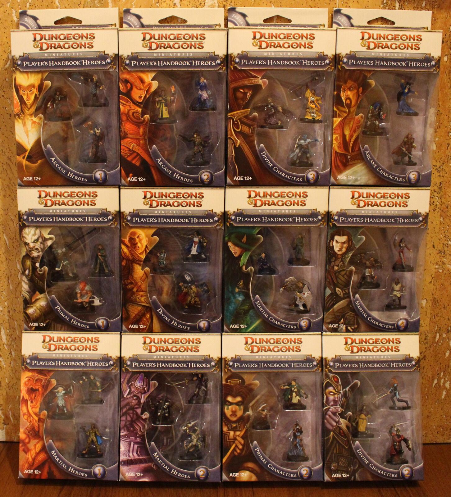 Dungeons & Dragons miniaturas Manual héroes del jugador (serie 1 y 2, conjunto completo)