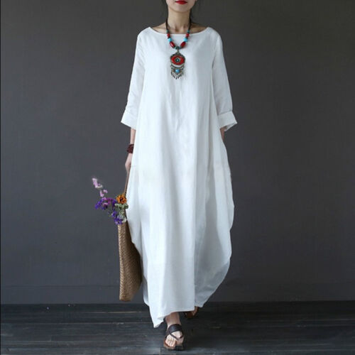 Plus Size Womens 3//4 Sleeve Baggy Long Maxi Dress Cotton Linen Kaftan Dresses US