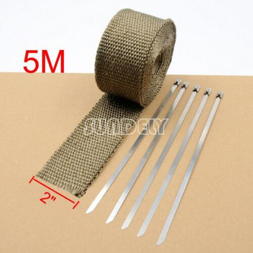 """NEW 2/"""" x5M EXHAUST HEADER PIPE TAPE WRAP INSULATION CLOTH FIREPROOF COOL AIR"""