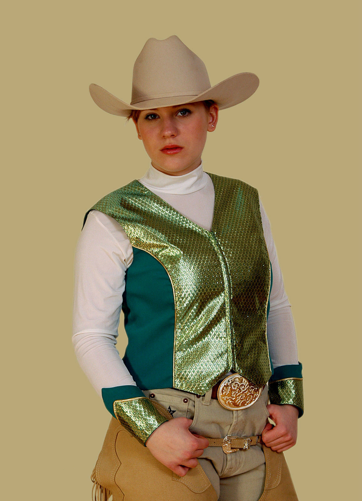 Western Western Western Turnier Outfit Reining Showweste  Brokat grün     Neu 9e3618