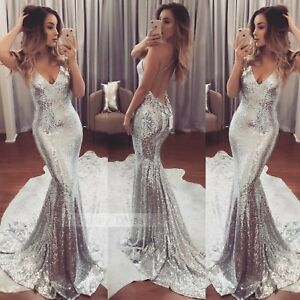 Women-Sequins-Dress-Prom-Formal-Evening-Gown-Ball-Party-Bridesmaid-Dress-Costume